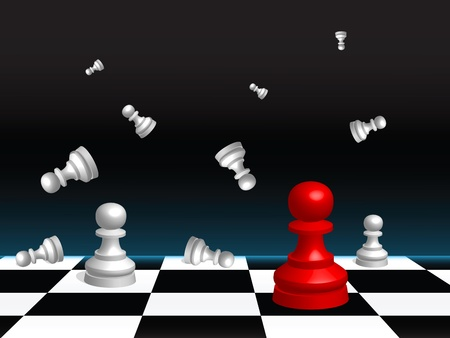 pawn: Abstract vector background with a chess board and pieces