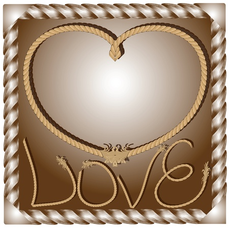 The original postcard backdrop to the theme of love from a rope Illustration