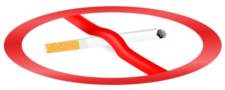 Illustration on the dangers of smoking and the image is crossed with a cigarette Stock Vector - 11785133