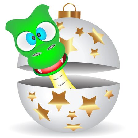 Cute, funny dragon in the egg a symbol of the new year Vector