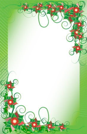 Vector frame with beautiful flowers on a green background Vector