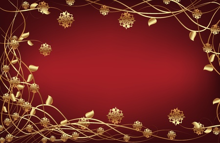flower clip art: Vector frame with gold flowers on dark red background