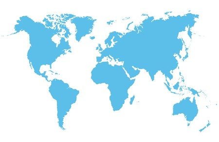 world map blue: Detailed vector map of the world on a white background