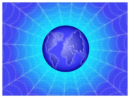 Abstract background with the image of planet earth and the notion of the Internet Vector