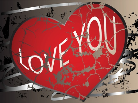 Creative wallpaper with a cracked heart and grunge elements Vector