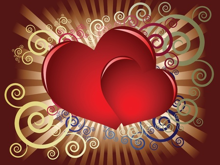 Two red hearts on a dark background with decorative elements Vector