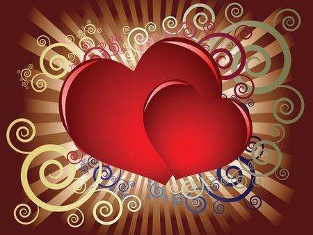 Zwei rote Herzen auf einem dunklen Hintergrund mit dekorativen Elementen Standard-Bild - 11875958