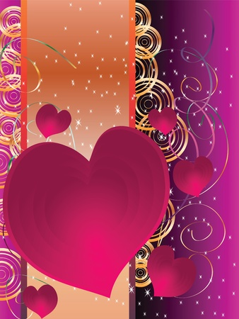 Holiday Cards Valentine's Day with hearts and a place Vector