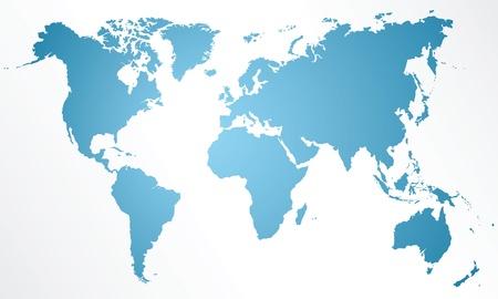 Gedetailleerde kaart van de wereld op een witte achtergrond Stock Illustratie