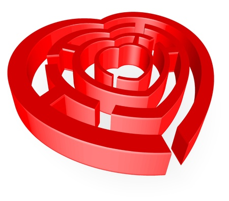 An abstract illustration on the theme of love with the heart in the form of maze