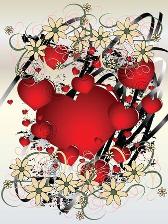 Grungy illustration with red hearts on Valentines Day Vector