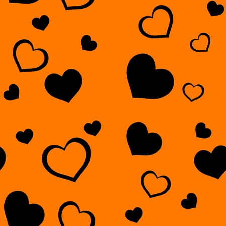 Seamless pattern with hearts on an orange background Vector