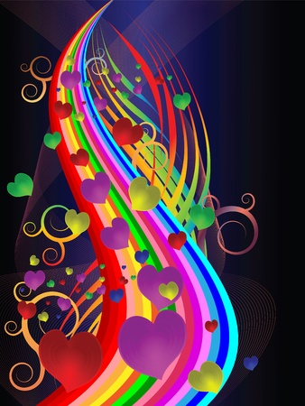 Bright festive illustration with colored stripes and hearts Vector