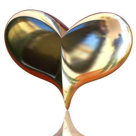 3d golden heart closeup on white background photo