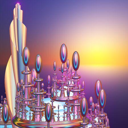 mystique: Fairytale fantasy city against the evening sunset