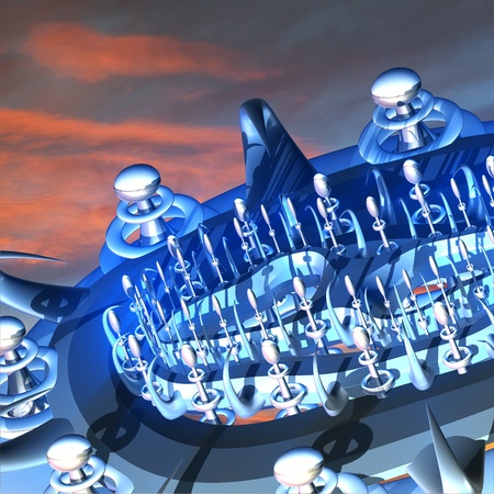 3d weird: Fantastic background with abstract metal structure in the form of a spacecraft