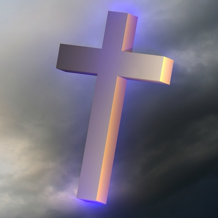 Glowing blue light metal cross in a dark cloudy sky photo