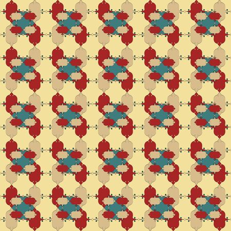 Seamless pattern with color figures and elements Vector