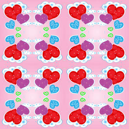 Seamless pattern with multicolored hearts and clouds Vector