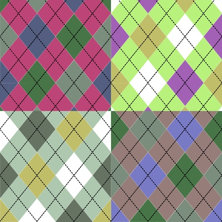 Seamless colorful Scottish pattern in four different colors Vector
