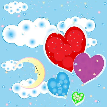 Seamless background with children's hearts and clouds moon stars Vector