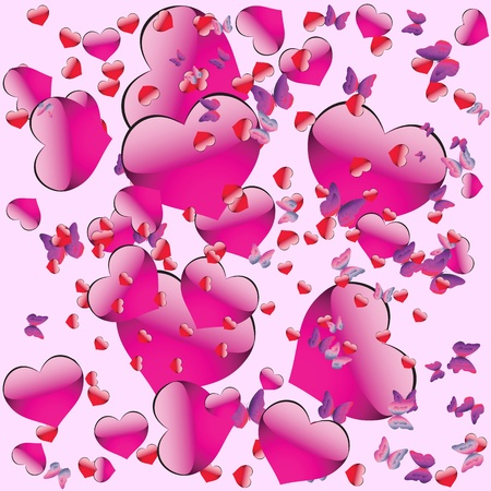 Seamless pattern on Valentines Day with hearts and butterflies Vector