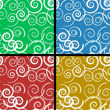 Abstract seamless spiral pattern in four colors closeup Stock Vector - 12370021
