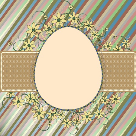 ellipses: Easter frame with a retro patterned egg and flowers