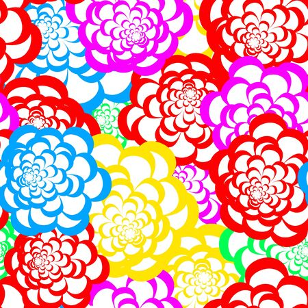 textile image: Seamless floral pattern with large colorful flowers