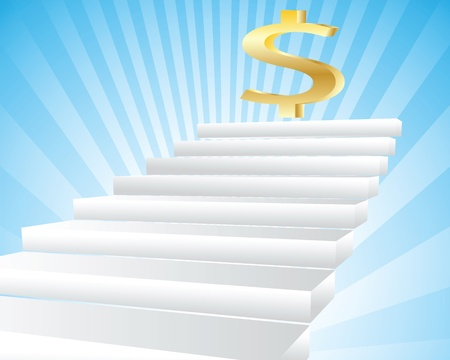 Illustration of an abstract staircase leading to wealth Vector