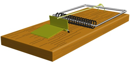 pitfall: Realistic mousetrap closeup isolated on white background Illustration
