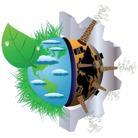 contaminacion ambiental: Ilustración sobre la contaminación del medio ambiente del planeta tierra