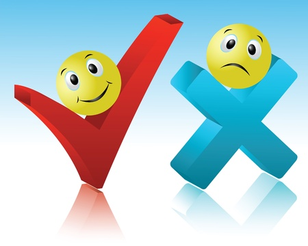 Positive and negative sign reflecting the close-up Illustration