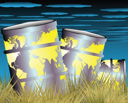 toxic barrels: The illustration on the theme of environmental disaster Illustration