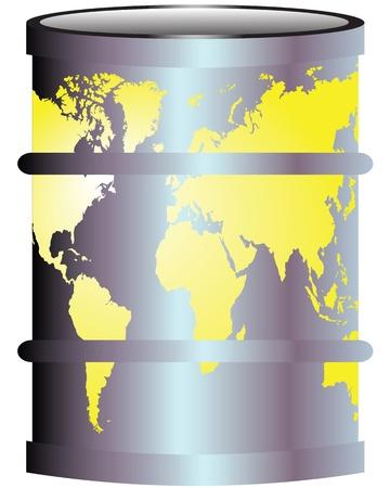 toxic barrels: Ilustraci�n con una hija y un mapa de la contaminaci�n mundial de petr�leo del planeta tierra