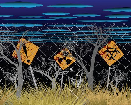 toxic waste: Danger zone warning signs of contamination with fencing and dead trees