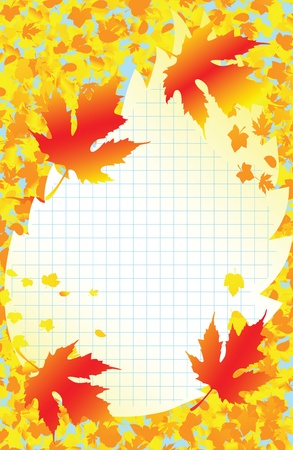 School Autumn frame with yellow leaves Vector