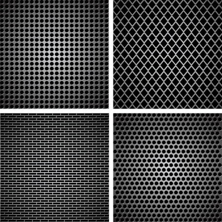 A set of dark metallic grille for your design Vector