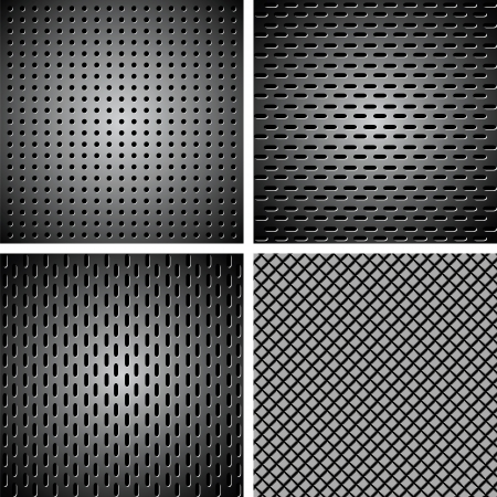 A set of metal backgrounds in the form of steel mesh Vector