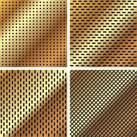 A set of dark gold metallic grille for your design Vector