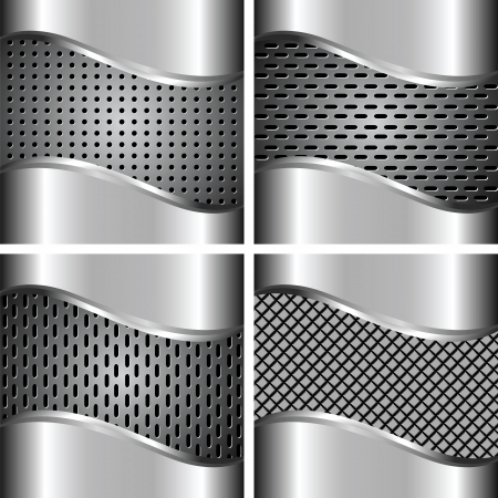 A set of metal background for your design Vector