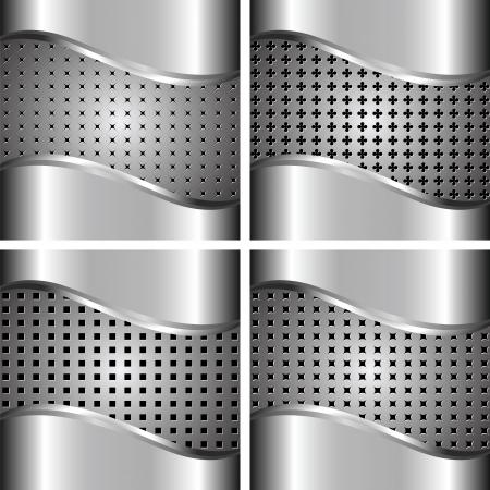 malla metalica: Un conjunto de metal de fondo para su diseño Vectores
