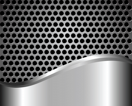 grille: abstract dark background with metal grid Illustration