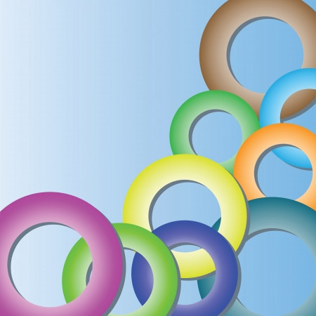 Abstract blue background with colored rings