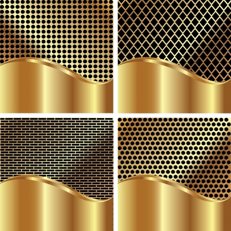 Set of gold backgrounds for your design Illustration
