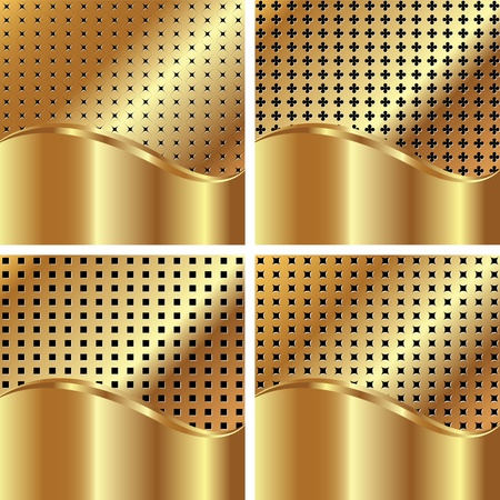 Set of gold backgrounds for your design Vector