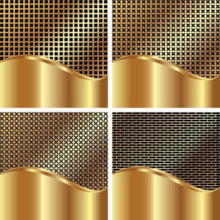 metal grate: Set of gold backgrounds for your design Illustration