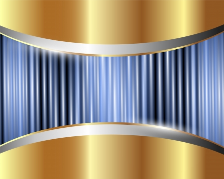 Abstract gold metal background with blue glow
