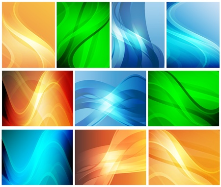 smooth curve design: Set of abstract colorful backgrounds for your design