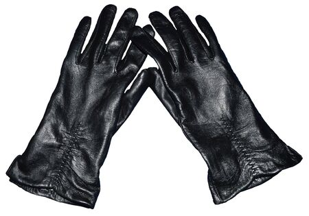 Womens black leather gloves isolated on white background photo
